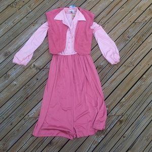 VINTAGE 70s Pink 2 Piece Dress + Vest